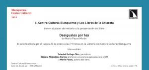 Invitacion Presentacion Desiguales por Ley Blanquerna
